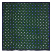 Navy and Green Floral Wool Pocket Square - Red Stag and Hind