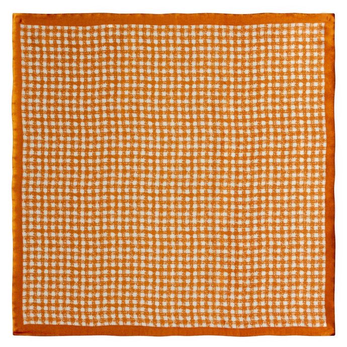 Orange Checked Silk Pocket Square - Red Stag and Hind