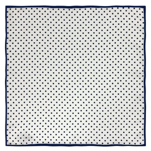 Navy and White Polka Dot Silk Pocket Square - Red Stag and Hind