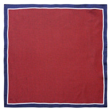 Navy/Red Houndstooth Silk Pocket Square - Red Stag and Hind