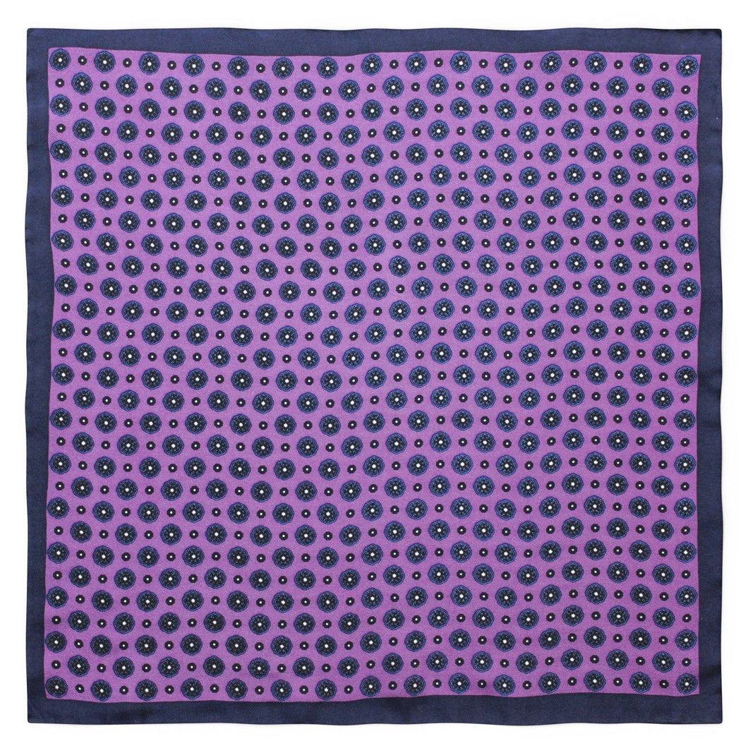 Navy and Purple Floral Silk Pocket Square - Red Stag and Hind