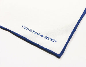 Blue/White Shoestring Silk Pocket Square - Red Stag and Hind