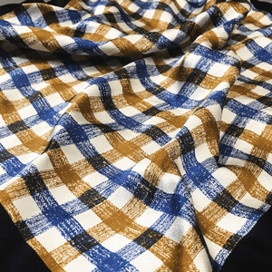 Brown and Blue Checked Silk Pocket Square - Red Stag and Hind