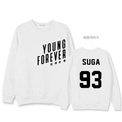 Young Forever White Sweatshirt - Suga