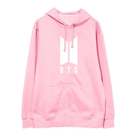BTS Fleece Pink Hooded Sweatshirt