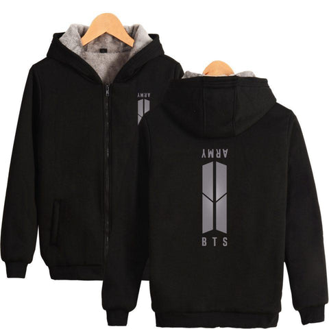 Army Black Winter Zipper Hoodie Jacket