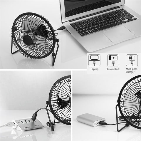 USB 5W Iron Fan 8Inch Cooling Ventilation Cooling Fan+ Black Solar Panel