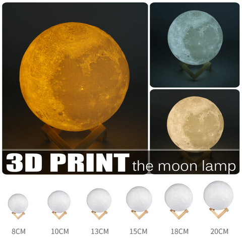 3D Print Moon Lamp USB LED Night Light Touch Sensor