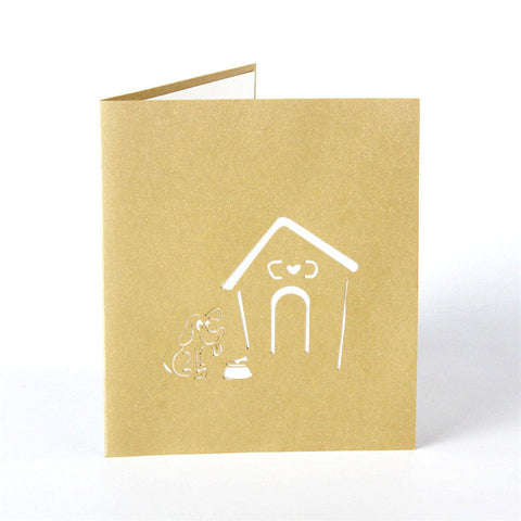 4 Cards - 3D Laser Cut Cute Dog Cage House Paper Invitation Greeting Cards