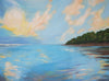 Ocean beach painting sunrise over sand in Costa Rica landscape.