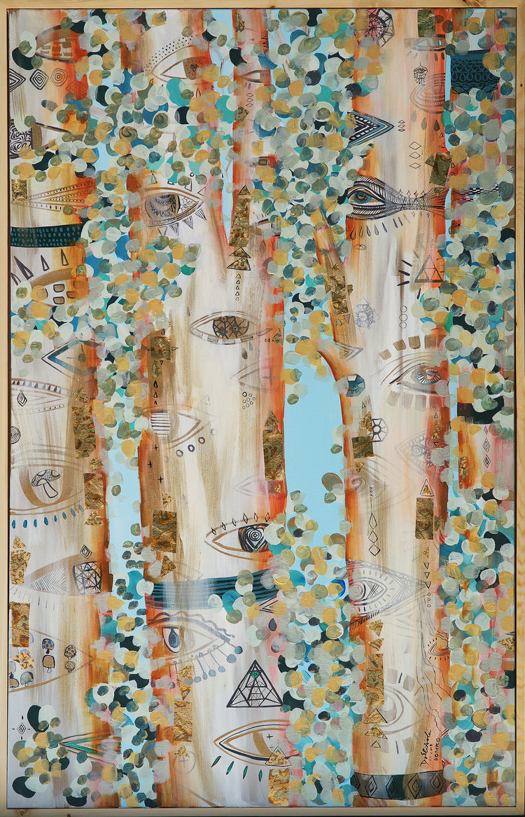 Forest of Light (Blue Sky, Peach and Copper Trees)