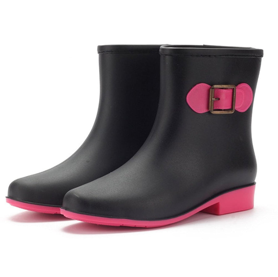 Women Rain Boots Middle Overshoes Rain Snow Watering Shoes with Decoration Buckle - www.wowseastore.com