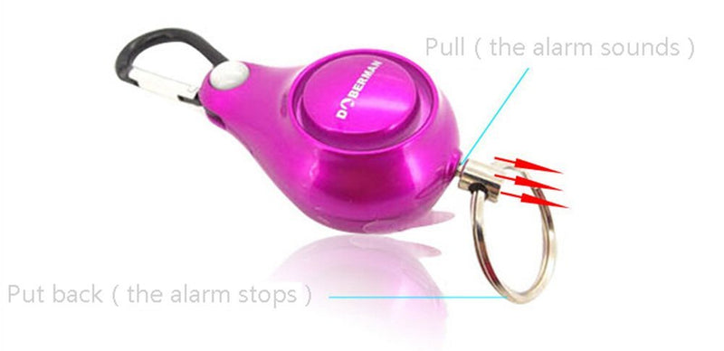 Resilience Retractable Rope Key Ring Anti-lost Alarm(Purple) - www.wowseastore.com