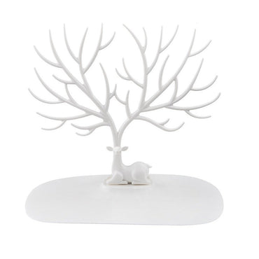 Deer Tree Jewelry Display Tower,Bracelet Holder,Necklace Rack for Home Use PP Material (White) - www.wowseastore.com