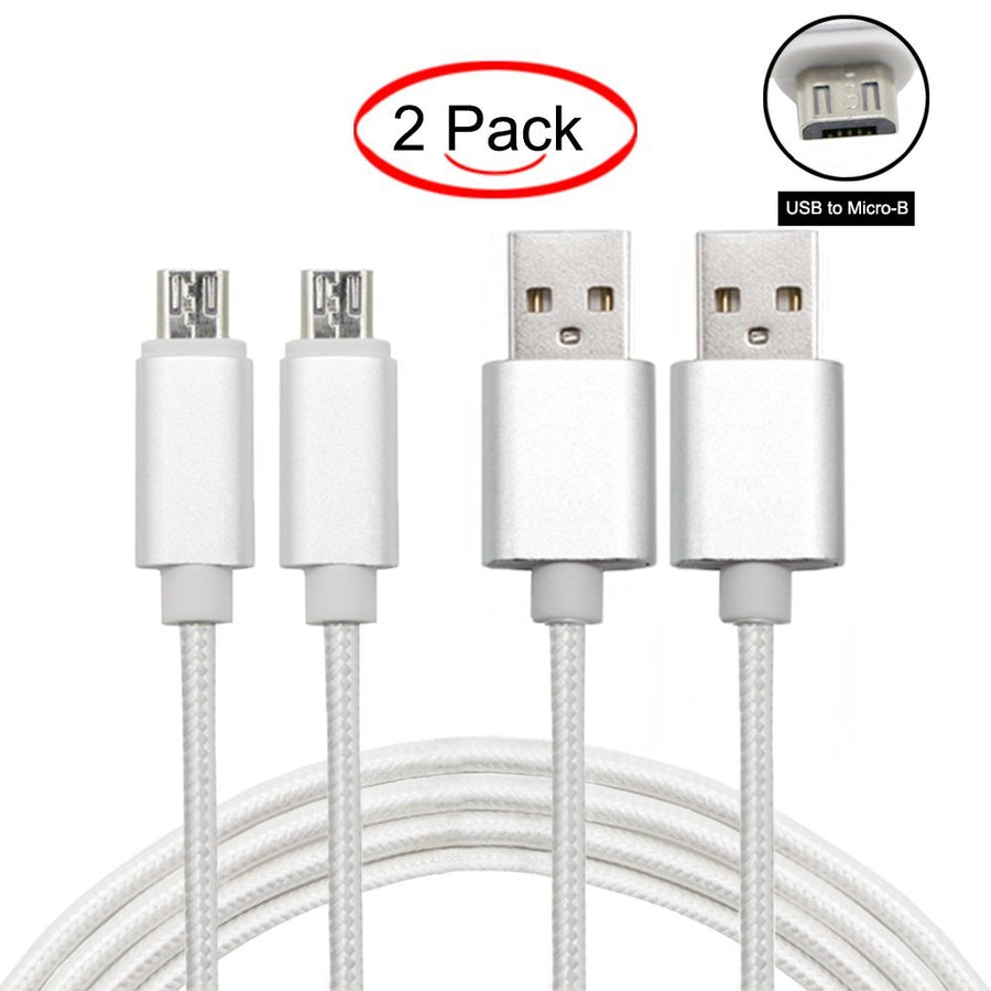 Android Cable 3.3ft Nylon Braided Cord Fast Charger White - www.wowseastore.com