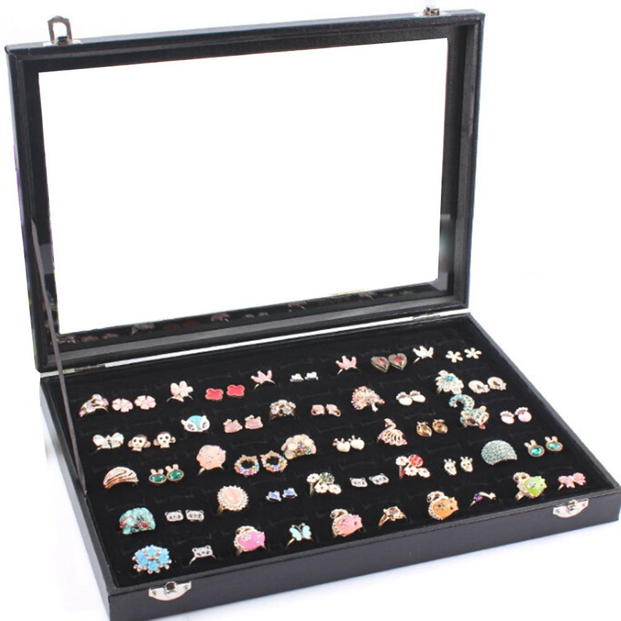 7 Rows Glass Lid Jewelry Display Cassa per cassa nera - it.wowseastore.com