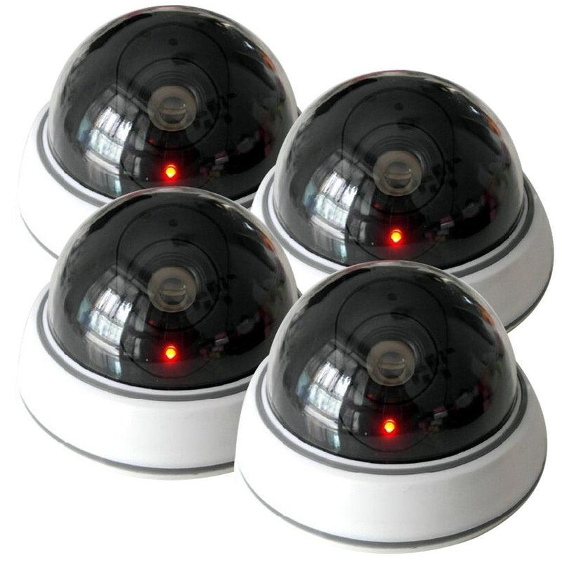 4 Pack Dummy Fake Security Telecamera a cupola CCTV con luce a LED rossa lampeggiante - it.wowseastore.com