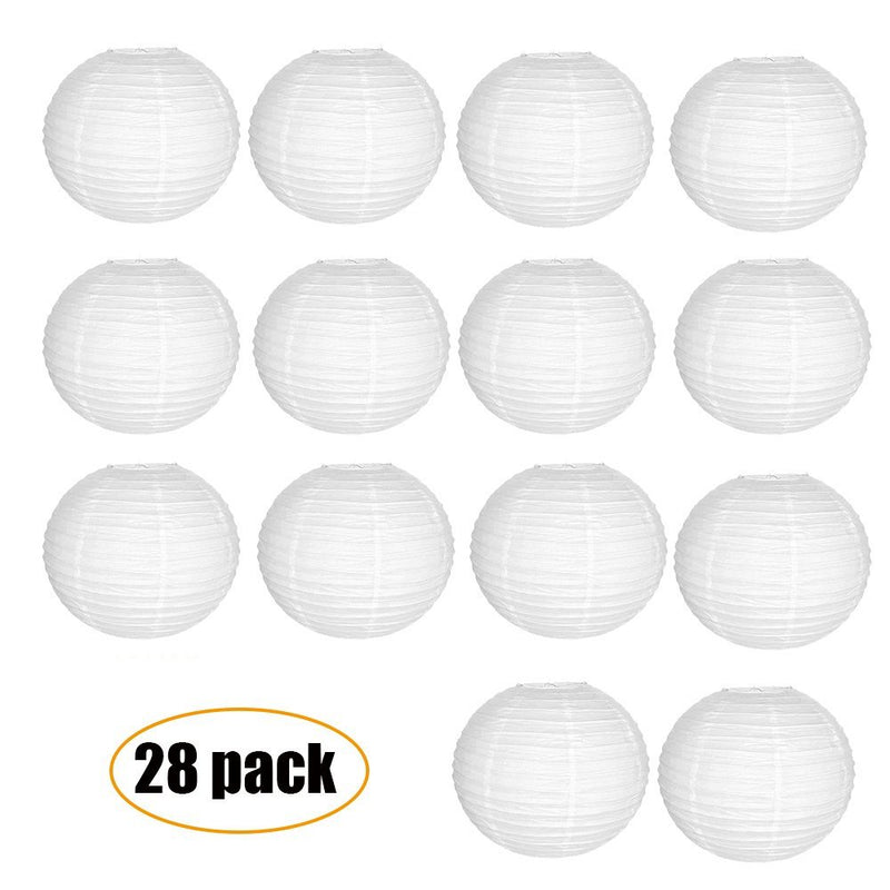White Round Paper Chinese Lanterns with 60m Clear String(4inch,28pack) - www.wowseastore.com