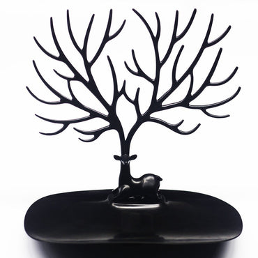 Deer Tree Jewelry Display Tower,Bracelet Holder Necklace Rack PP Material (Black) - www.wowseastore.com