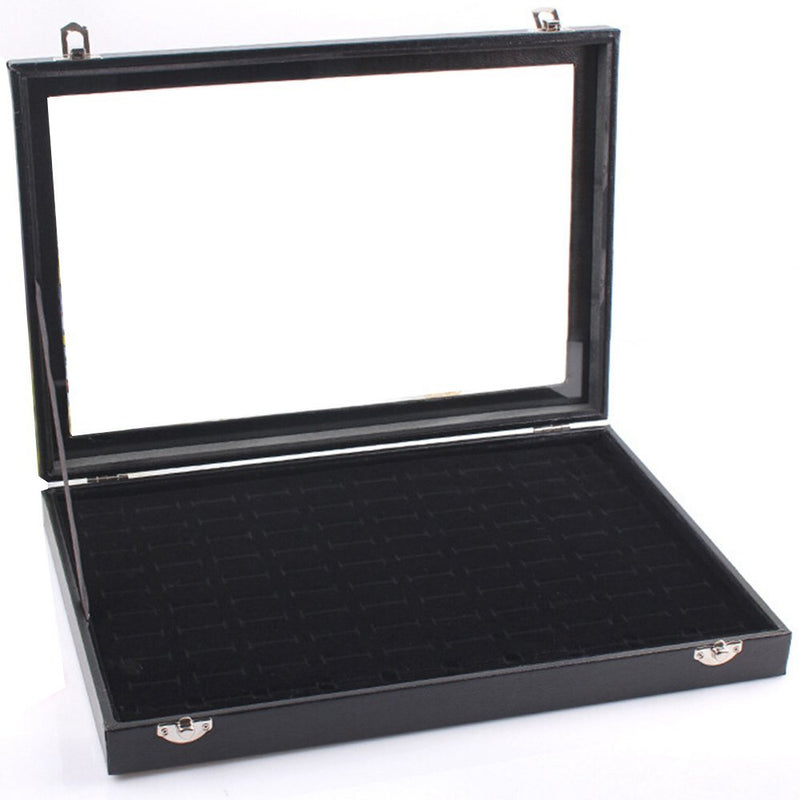 7 Rows Glass Lid Jewelry Display Case Ring Case Black - www.wowseastore.com