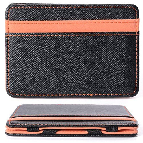 Men's Magic Credit ID Card Money Clip Cash Wallet (Orange) - www.wowseastore.com