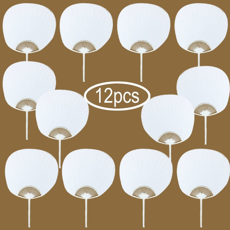 Round White Blank Paper Handheld Folded Fan Bridal Dancing Props DIY Decor(12pcs) - www.wowseastore.com