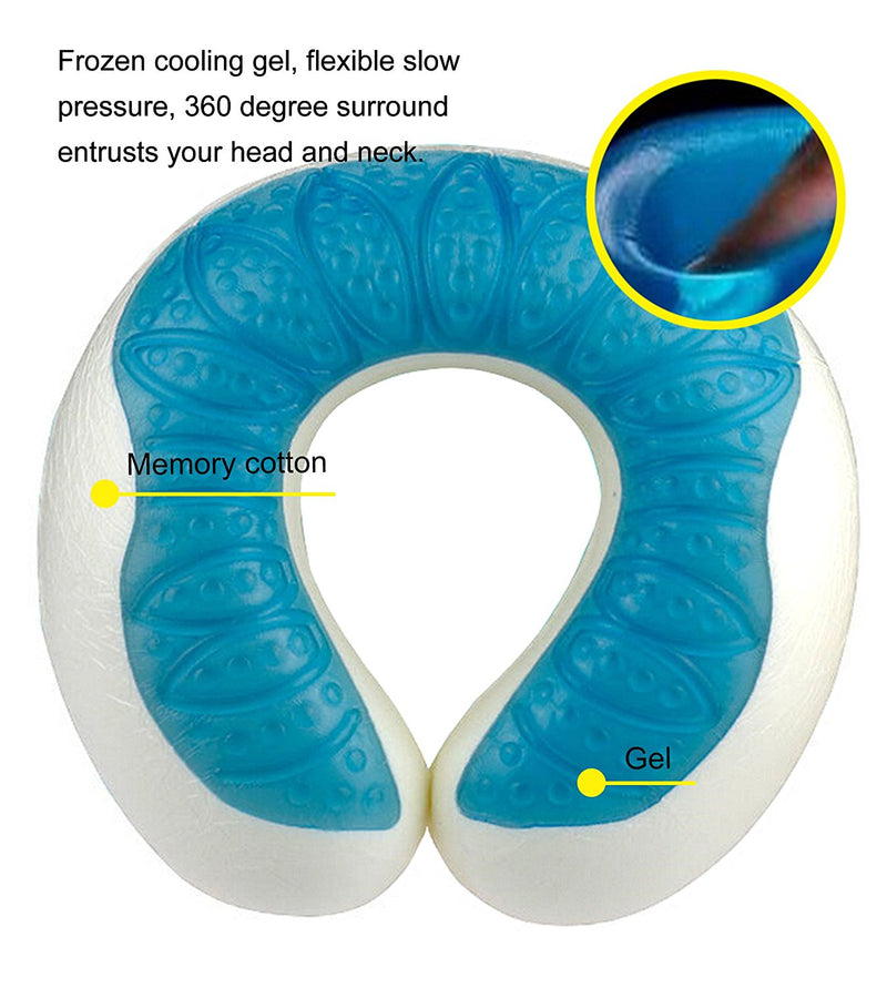 Memory Foam Cool Gel U Shaped Travel Pillow Neck Support - www.wowseastore.com