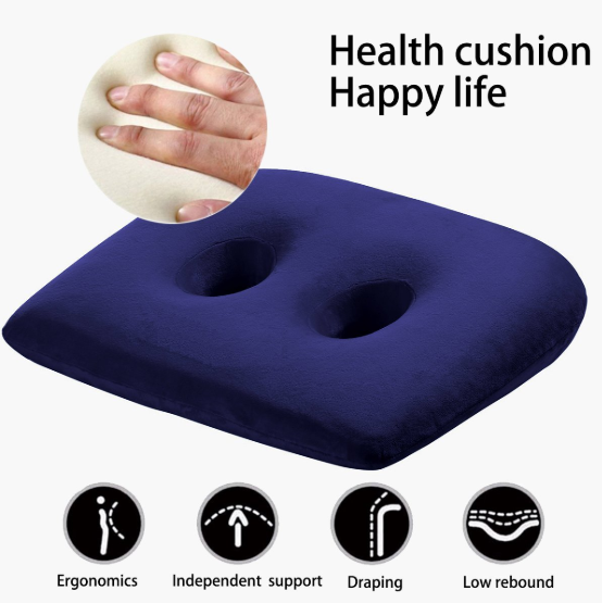 Ischial Tuberosity Seat Cushion with Two Holes for Sitting (Travelling,TV,Reading,Home,Office,Car)