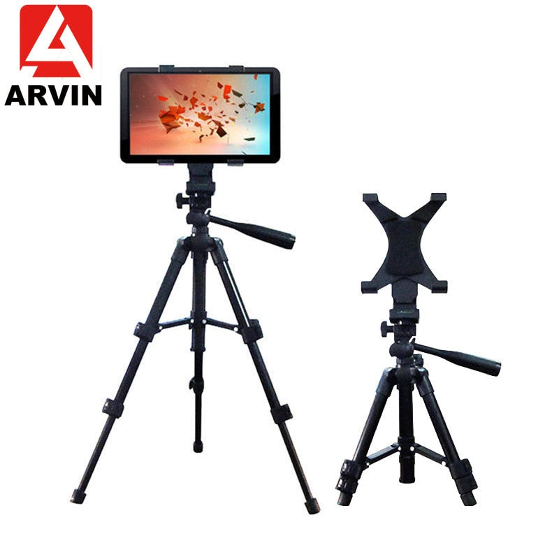 Arvin Adjustable Tripod Tablet Holder Stand For IPad Pro Mini Rotation Desktop Camera Clip Bracket Mount Adapter For IPhone X XS