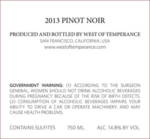west-of-temperance-winery - 2013 Pinot Noir - West of Temperance Winery - Wine