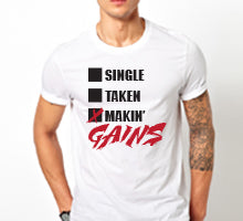 Makin Gains Mens White Tshirt.jpg