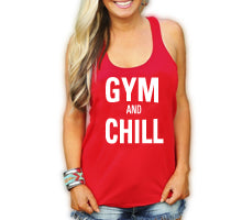 gym and chill red tank top ladies.jpg