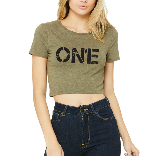 ON1E Women's T-Shirt Crop (Military Green)