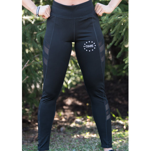 ON1E Black Side Mesh Leggings