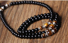 Black Onyx Stone with Tiger's Eye Spiritual Mala Beads - Bodhi Crave