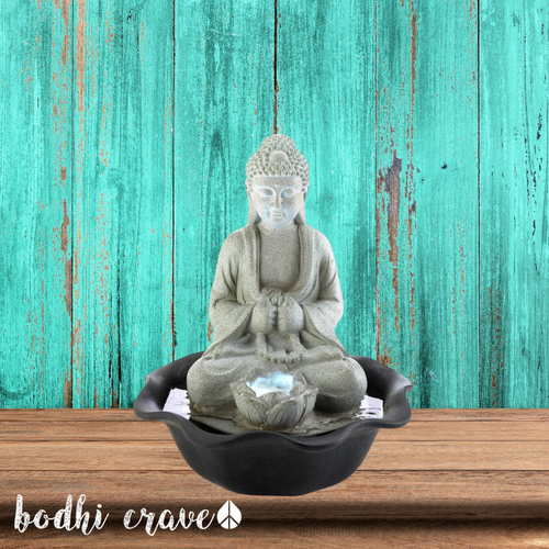 Buddha On Lotus Tabletop Fountain - Bodhi Crave