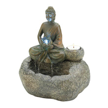 Buddha Lotus Flower Tabletop Fountain with Candle Holder - Bodhi Crave