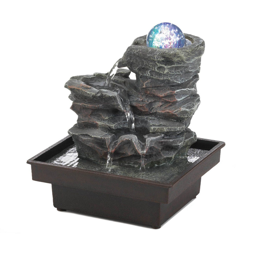 Glass Orb On Rocks Tabletop Fountain - Bodhi Crave