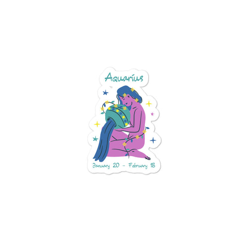 Aquarius The Water Bearer Zodiac Bubble-free stickers - Bodhi Crave