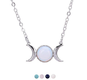 Crystal Crescent Moon Pendant Necklace - Bodhi Crave