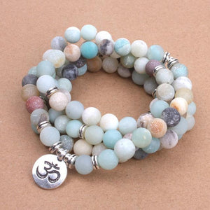 Matte Frosted Amazonite Beads Bracelet or Necklace | with OM, Lotus, and Buddha, - Bodhi Crave