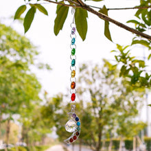 Hanging Chakra Crystal Suncatcher with Half Moon Rainbow Crystal Prism - Bodhi Crave