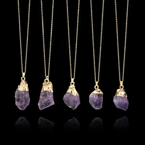 Purple Amethyst Crystal Healing Stone Necklace - Bodhi Crave