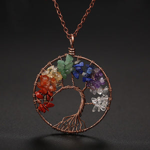 7 Stone Chakra Tree of Life Necklace - Bodhi Crave