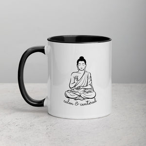 Calm and Centered Meditation Buddha Mug with Color Inside - Bodhi Crave