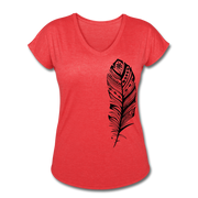 Feather Women's Tri-Blend V-Neck T-Shirt - heather red