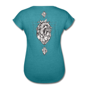 Heart of Stone Women's Tri-Blend V-Neck T-Shirt - heather turquoise