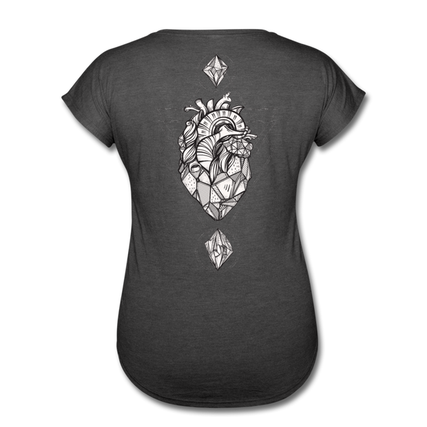 Heart of Stone Women's Tri-Blend V-Neck T-Shirt - deep heather