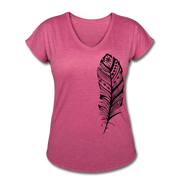 Feather Women's Tri-Blend V-Neck T-Shirt - heather raspberry