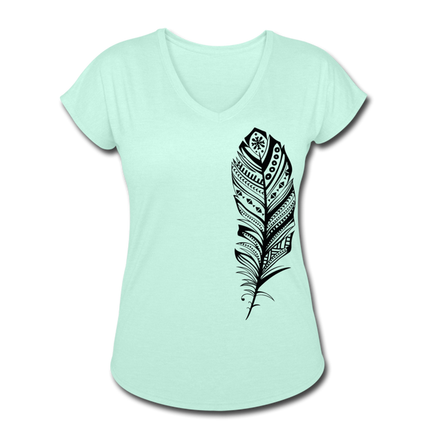 Feather Women's Tri-Blend V-Neck T-Shirt - mint